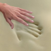 The hand print remains once the hand is removed.  This is the benefit of the memory foam mattress pad.  As indicated, the topper contours to the shape of the body.
