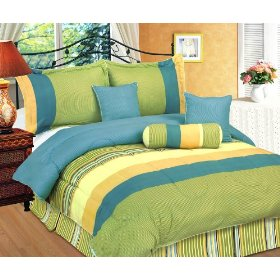 Lime green and turquoise with a splash of yellow create a vibrant yet restful bedroom decor
