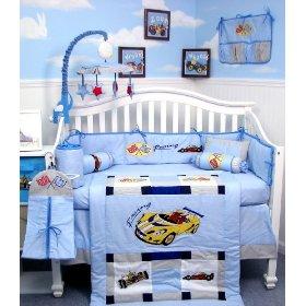 Zoom Zoom Race Car Baby Crib Nursery Bedding Set