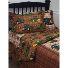 post image for john deere traditional tractor and plaid sheet set and
