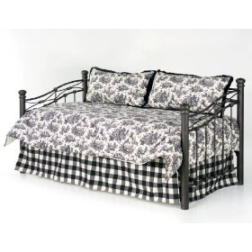 Black Toile Comforter Daybed Bedding Set with Checked=