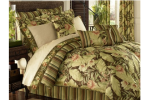 brown and green tropical bedding ensemble