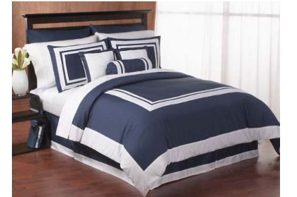 Navy and white hotel bedding