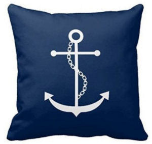 Navy Anchor Pillow Cover