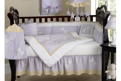 light purple dragonfly baby bedding