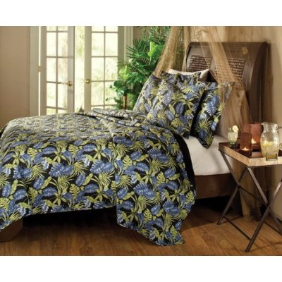 Asian Bedding Brown  Black on Tropical Palm Bedding In Black  Blue  Green Floral   Tropical Bedding