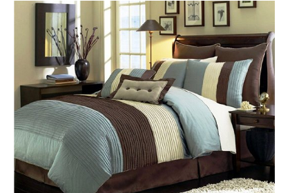 Chezmoi blue and brown bedding