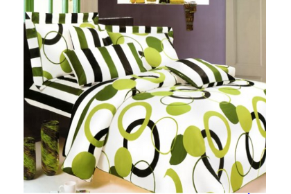 lime green and black bedding