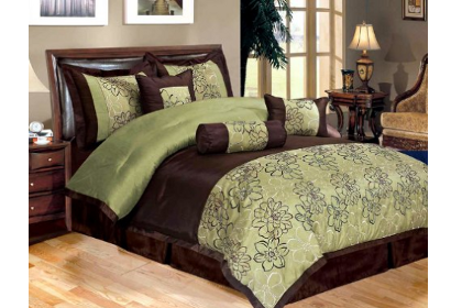 Sage and brown bedding