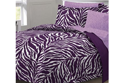 Purple and White Zebra Print Bedding