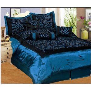 blue zebra print bedding with black accents