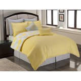 soft gray and pale yellow bedding