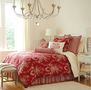 Red French Country Toile Bedding For Spring Bedding Selections
