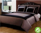 taupe and black hotel bedding ensemble