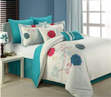 turquoise and white floral bedding