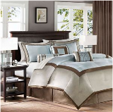 blue and brown hotel collection bedding