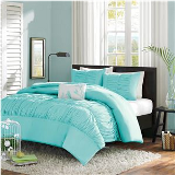 turquoise and white bedding set