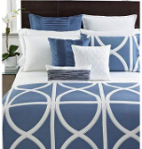 blue and white trellis hotel bedding