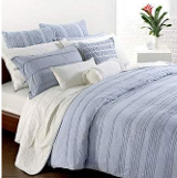 light blue and white bedding