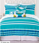 turquoise blue and white bedding