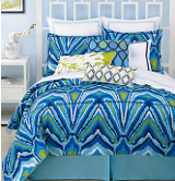 blue turquoise and white bedding