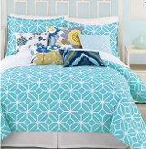 turquoise and white bedding selection