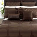 chocolate brown bedding in columns hotel style
