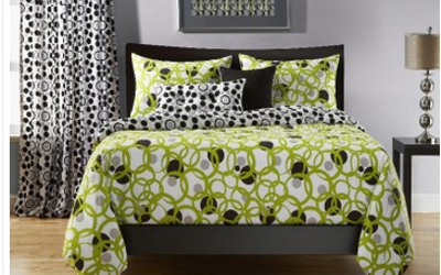 Lime and black bedding