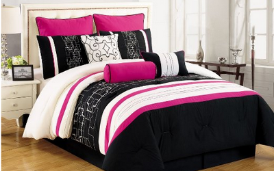 Black and pink bedding