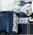 Blue and white bedding selections