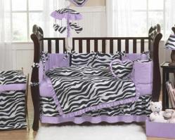 Pink Black And White Funky Zebra Crib Set Bedding