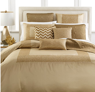 gold hotel bedding for fall