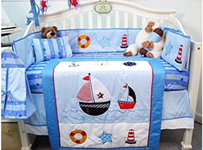 Boutique Baby Sailboat Crib Bedding Set, Sailboat Baby Bedding Set