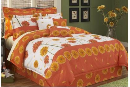 Gerber Daisy Print Accents Orange Bedding Ensembles In